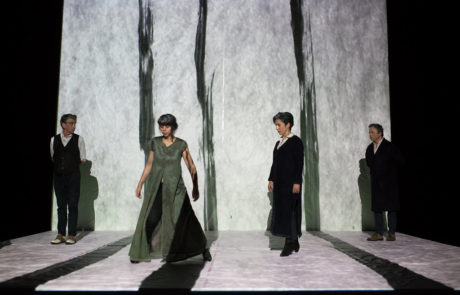 Les quatre interprètes de la pièce avancent dans des projections de lignes lumineuses dessinées à la main