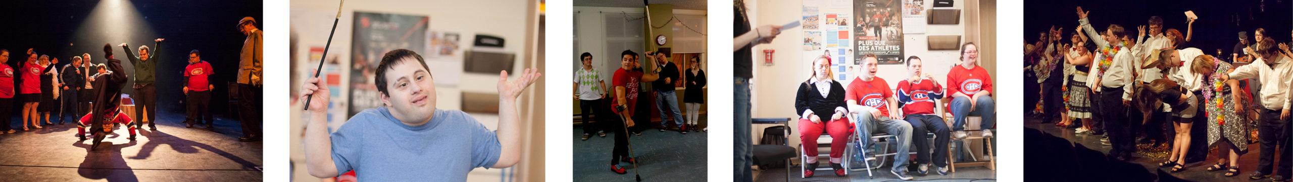 Des membres du Regroupement pour la Trisomie 21 jouent dans un spectacle, créent et répètent lors d'ateliers, et saluent sur scène. 5 photos.